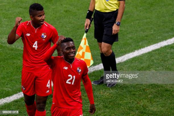Panama's midfielder Jose Luis Rodriguez celebrates after scoring during the Russia 2018 World Cup Group G football match between Panama and Tunisia...