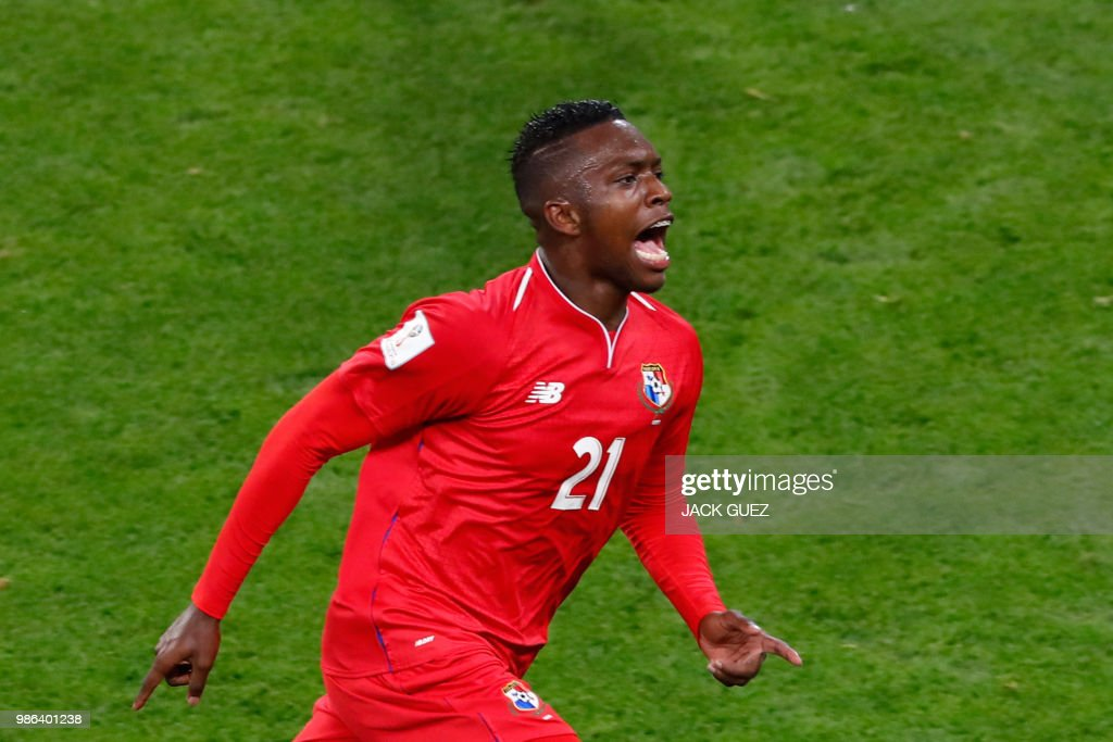Panama's midfielder Jose Luis Rodriguez celebrates after scoring during the Russia 2018 World Cup Group G football match between Panama and Tunisia at the Mordovia Arena in Saransk on June 28, 2018. (Photo by Jack GUEZ / AFP) / RESTRICTED