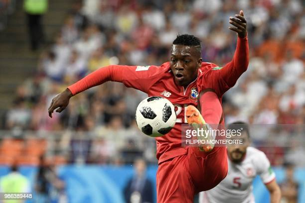TOPSHOT Panama's midfielder Jose Luis Rodriguez controls the ball during the Russia 2018 World Cup Group G football match between Panama and Tunisia...