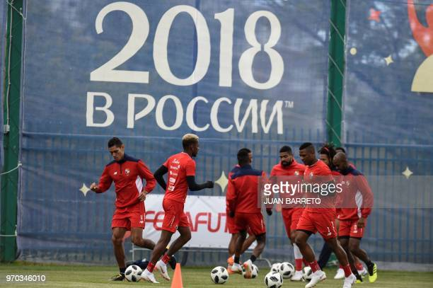 Panama's national football team players attend a training session ahead of the Russia 2018 World Cup at the Olympic training center in SaranskRussia...