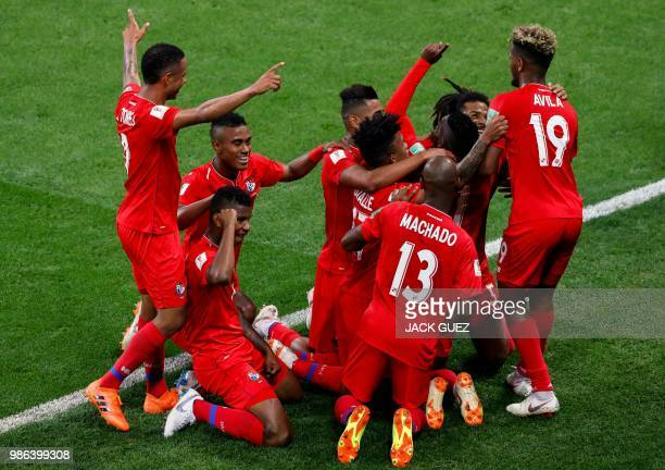 TOPSHOT Panama's players celebrate after scoring during the Russia 2018 World Cup Group G football match between Panama and Tunisia at the Mordovia...