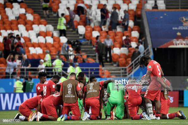 TOPSHOT Panama's players gather at the end of the Russia 2018 World Cup Group G football match between Panama and Tunisia at the Mordovia Arena in...