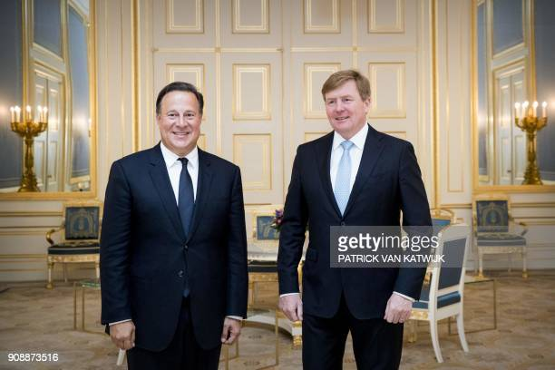 Panama's President Juan Carlos Varela and Netherlands' King WillemAlexander pose at the Royal Palace Noordeinde in The Hague on January 22 2018 / AFP...