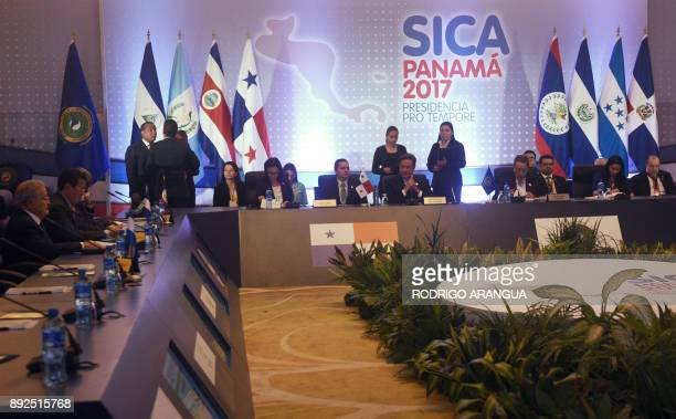 Panama's President Juan Carlos Varela speaks during the inauguration ceremony of the Central American Integration System summit in Veracruz some 20...