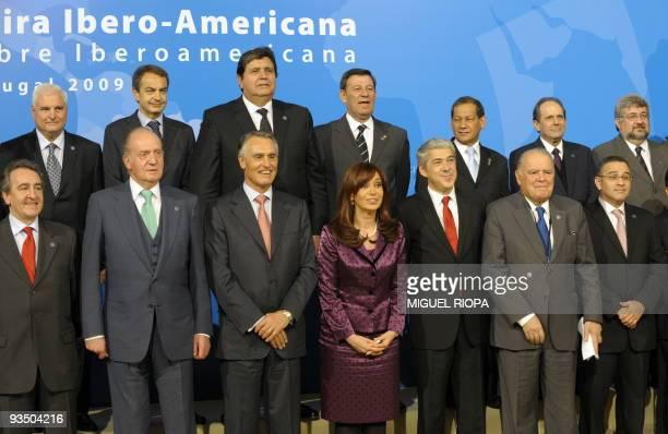 Panama's President Ricardo Martinelli, Spain's Prime Minister Jose Luis Rodriguez Zapatero,Peru's President Alan Garcia , Uruguay's Vice-President...