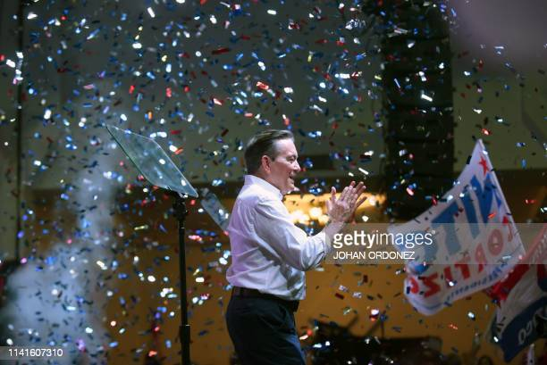TOPSHOT Panama's presidential candidate for the Democratic Revolutionary Party Laurentino Cortizo celebrates his win after being elected President of...