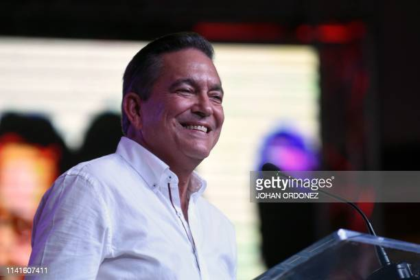 Panama's presidential candidate for the Democratic Revolutionary Party Laurentino Cortizo addresses supporters after being elected President of...