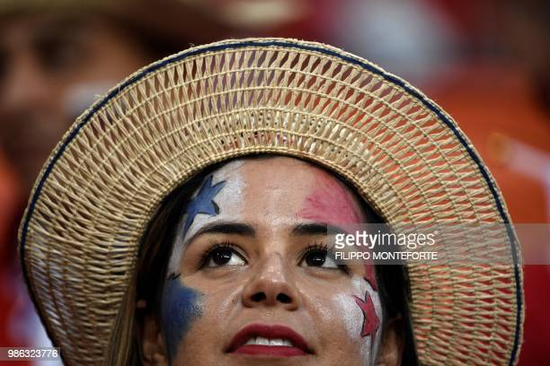 Panama's supporter is seen ahead of the Russia 2018 World Cup Group G football match between Panama and Tunisia at the Mordovia Arena in Saransk on...