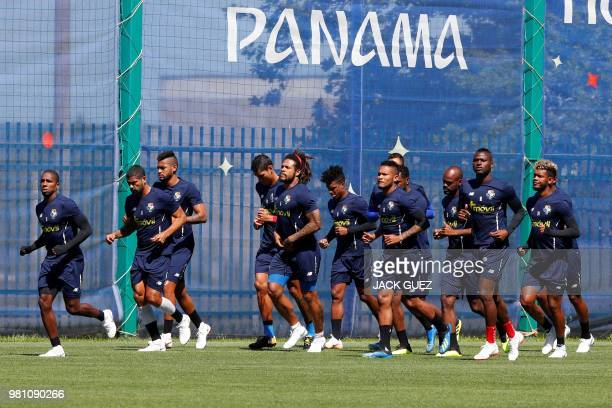 Panama's team players take part in a training session of the Panama's national football team at the Olympic Sports Center in Saransk on June 22...