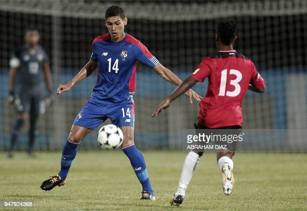Panama's Valentin Pimentel vies for the ball with Trinidad and Tobago's Kevon Goddard during their international friendly football match at the Ato...
