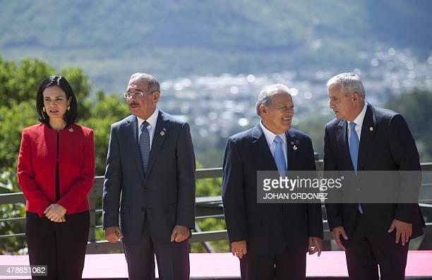 Panama's VicePresident Isabel Saint Malo Dominican Republic's President Danilo Medina Salvadorean President Salvador Sanchez Ceren and Guatemala's...
