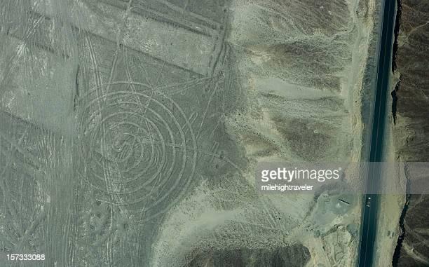Pan-American Highway and circular Nazca geoglyph
