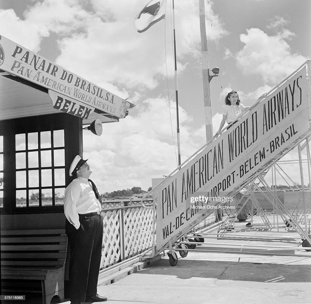 A Pan-American World Airways stewardess stands on the stairway at Val de Cans International Airport in Belem,Brazil.