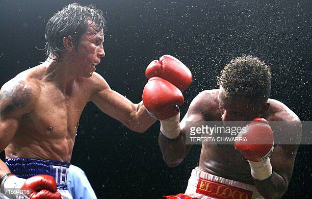"""Edwin """"The Inca"""" Valero of Venezuela and Panamanian Vicente """"Crazy"""" Mosquera exchange blows during a fight for the WBA Super Featherweight World..."""