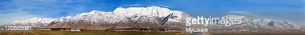 Panarama. Cascade Mountains And Mount Timpanogos. Snow In The Winter. Mountain Above Provo And Orem Utah.