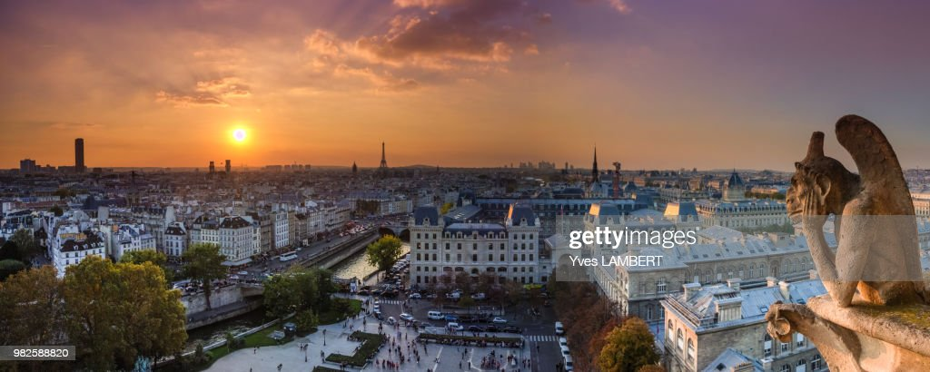Panaramic view from Notre Dame : Stock Photo