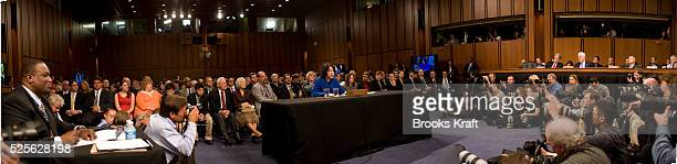 A panaromic image of US Supreme Court nominee Judge Sonia Sotomayor testifying at her US Senate Judiciary Committee confirmation hearings on Capitol...