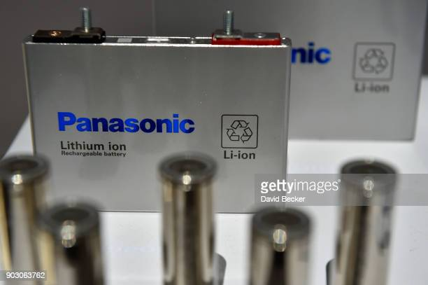 Panasonic automotive lithium ion battieries are displayed at the Panasonic booth during CES 2018 at the Las Vegas Convention Center on January 9 2018...
