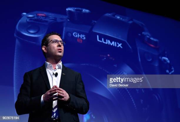 Panasonic Consumer Electronics Company President Michael Moskowitz introduces the new Lumix GH5S mirrorless camera during a press event for CES 2018...