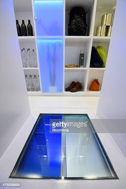 A Panasonic Corp hydrogen energy box right and a pure hydrogen fuel cell are displayed on the floor of the Wonder LifeBOX showcase inside the...