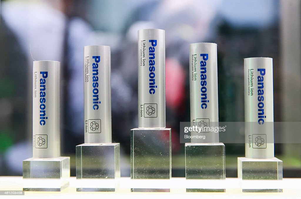 Panasonic Corp. lithium-ion rechargeable batteries are displayed during the 2015 Consumer Electronics Show (CES) in Las Vegas, Nevada, U.S., on Thursday, Jan. 8, 2015. This year's CES will be packed with a wide array of gadgets such as drones, connected cars, a range of smart home technology designed to make everyday life more convenient and quantum dot televisions, which promise better color and lower electricity use in giant screens. Photographer: Patrick T. Fallon/Bloomberg via Getty Images
