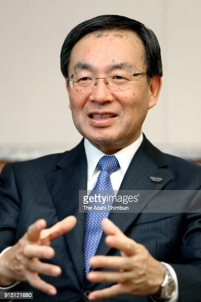 Panasonic Corp President Kazuhiro Tsuga speaks during the Asahi Shimbun interview on January 18 2018 in Tokyo Japan