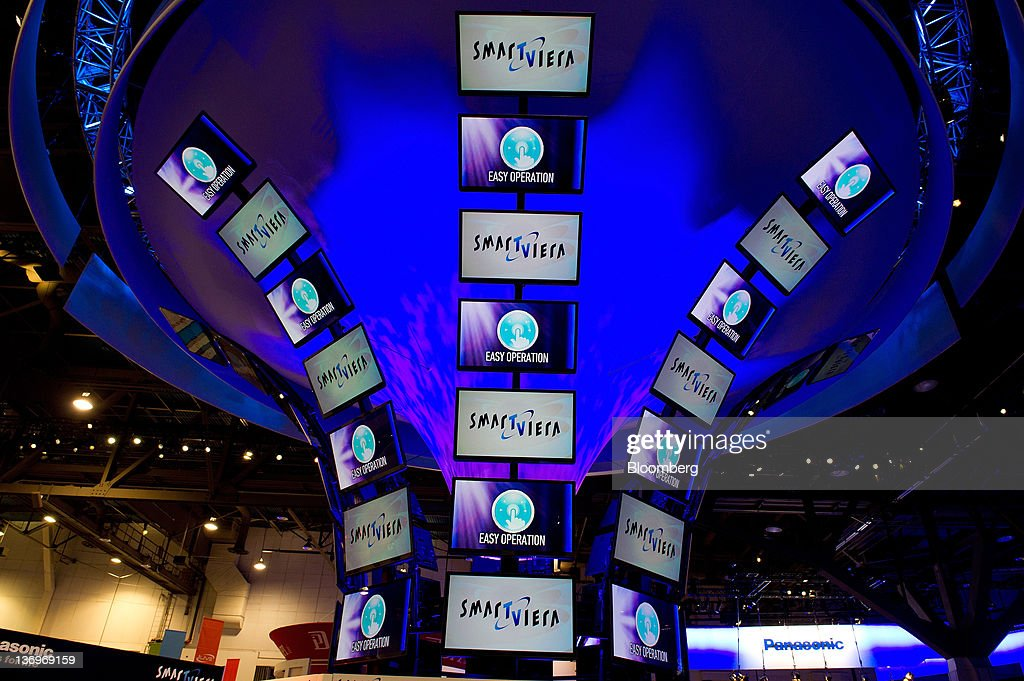 Panasonic Corp. televisions displayed at the International Consumer Electronics Show (CES) in Las Vegas, Nevada, U.S., on Friday, Jan. 13, 2012. The 2012 CES trade show, which runs through Jan 13, features more than 2,700 global technology companies presenting consumer tech products and is expected to draw over 140,000 attendees. Photographer: David Paul Morris/Bloomberg via Getty Images