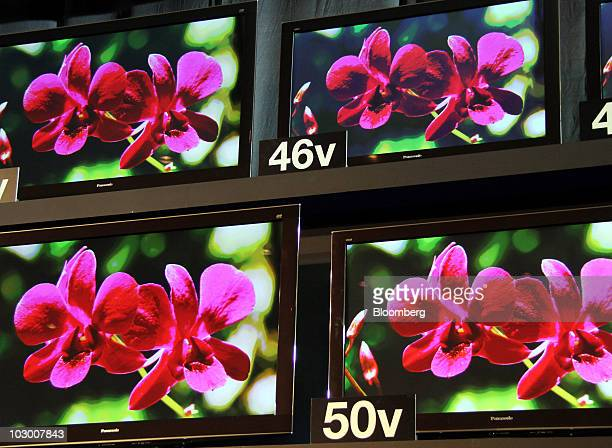 Panasonic Corp.'s 3-D Viera television models are displayed during the unveiling in Tokyo, Japan, on Wednesday, July 21, 2010. Panasonic Corp. , the...