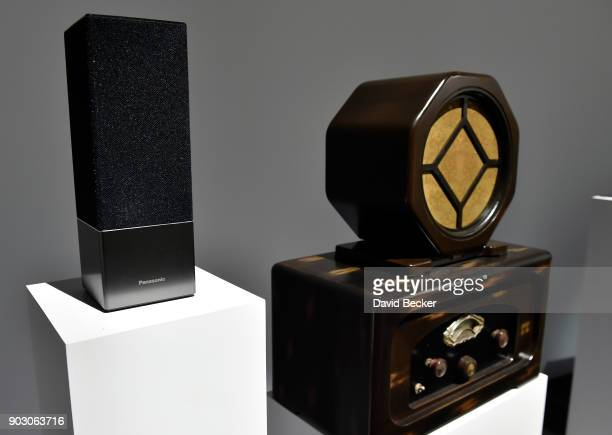 Panasonic Smart Speaker with Google Assistant is displayed with a 1931 radio receiver at the Panasonic booth during CES 2018 at the Las Vegas...