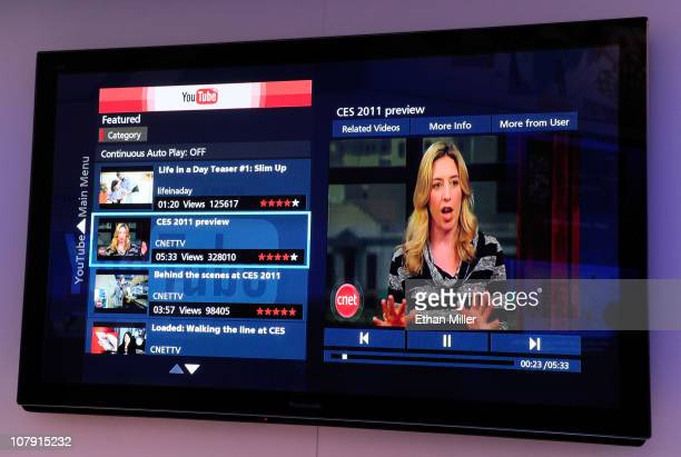 Panasonic TCP50VT30 3D HD television featuring Viera Connect Panasonic's Internet television service displays YouTube content at the 2011...