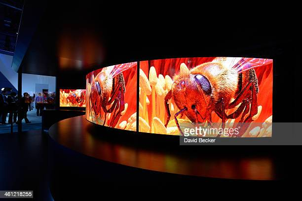 Panasonic's 4K curved OLED televisions are displayed at the Panasonic booth at the 2014 International CES at the Las Vegas Convention Center on...