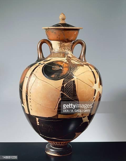 Panathenaic amphora depicting Promachos Athena 470 BC by the Berlin painter Attic blackfigure Italy Greek civilization Magna Graecia 5th Century BC...