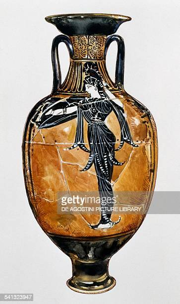 Panathenaic prize amphora with black figures and the image of Athena Promachos drawing Greece Greek civilisation