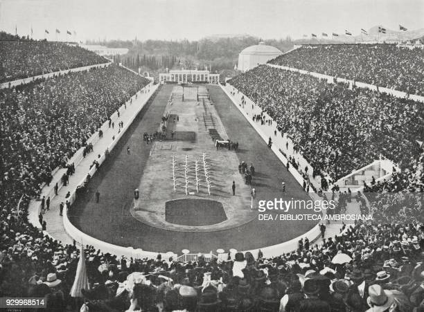 Panathinaiko stadium on the opening day of the Olympics, April 23 Athens, Greece, photograph by Adolfo Croce, from L'Illustrazione Italiana, Year...
