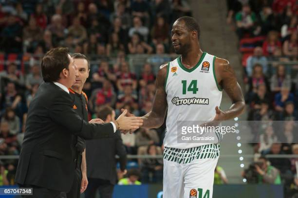 Panathinaiko's American forward James Gist #14 talks with the Spanish Head coach Xavi Pascual during the Turkish Airlines Euroleague Basketball...