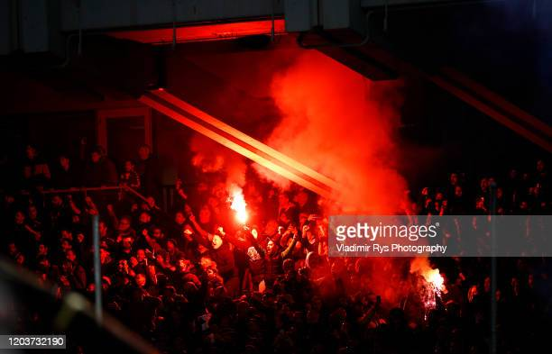 Panathinaikos fans light up flares during the Greece SuperLeague match between Panathinaikos FC and P.A.O.K. At OAKA Stadium on February 02, 2020 in...