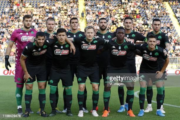 Panathinaikos FC goalkeeper Kostas Kotsaris, Dimitris Kolovetsios of Panathinaikos FC, Achilleas Poungouras of Panathinaikos FC, Dimitris Kolovos of...