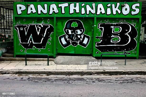 Panathinaikos graffiti art is seen around the stadium ahead of the Superleague match between Panathinaikos FC and Olympiacos at Apostolos Nikolaidis...