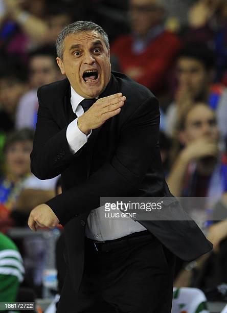 Panathinaikos' head coach Argiris Pedoulakis reacts during the Euroleague basketball match Regal FC Barcelona vs Panathinaikos at the Palau Blaugrana...