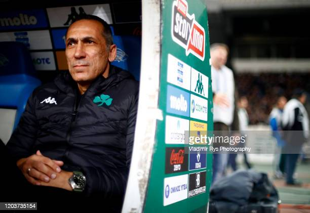 Panathinaikos Head Coach Giorgios Donis is seen during the Greece SuperLeague match between Panathinaikos FC and P.A.O.K. At OAKA Stadium on February...