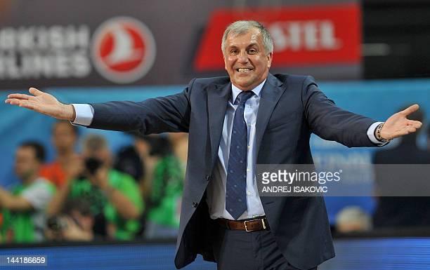 Panathinaikos' head coach Zeljko Obradovic reacts during the Euroleague Final four basketball semi-final match CSKA Moscow vs Panathinaikos at the...