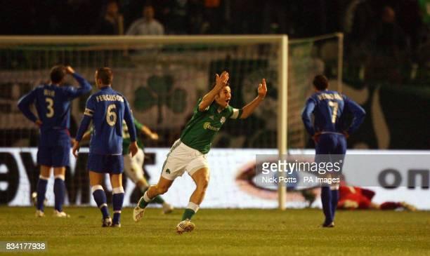 Panathinaikos' Ioannis Goumas celebrates scoring during the UEFA Cup match at Apostolos Nikolaidis Stadium Athens Greece