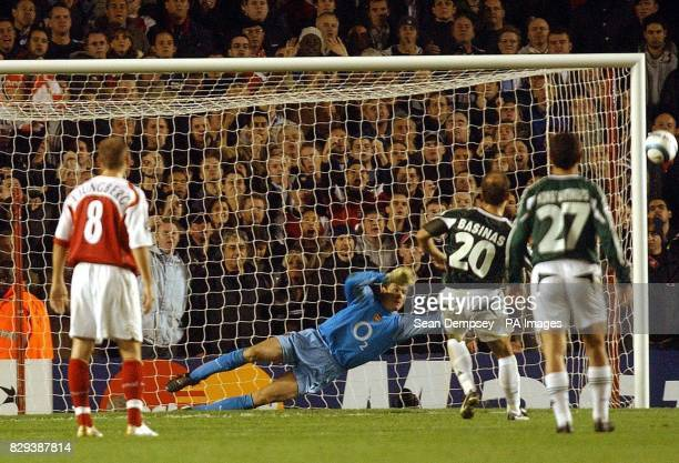 Panathinaikos player Aggelos Basinas misses a penalty for Panathinaikos during the UEFA Champions League Group E match against Arsenal at Highbury...