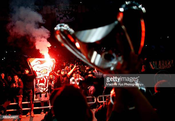 Panathinaikos players are acknowledged by the fans after winning the Greek Cup Final match between PAOK and Panathinaikos FC at the OAKA Stadium on...