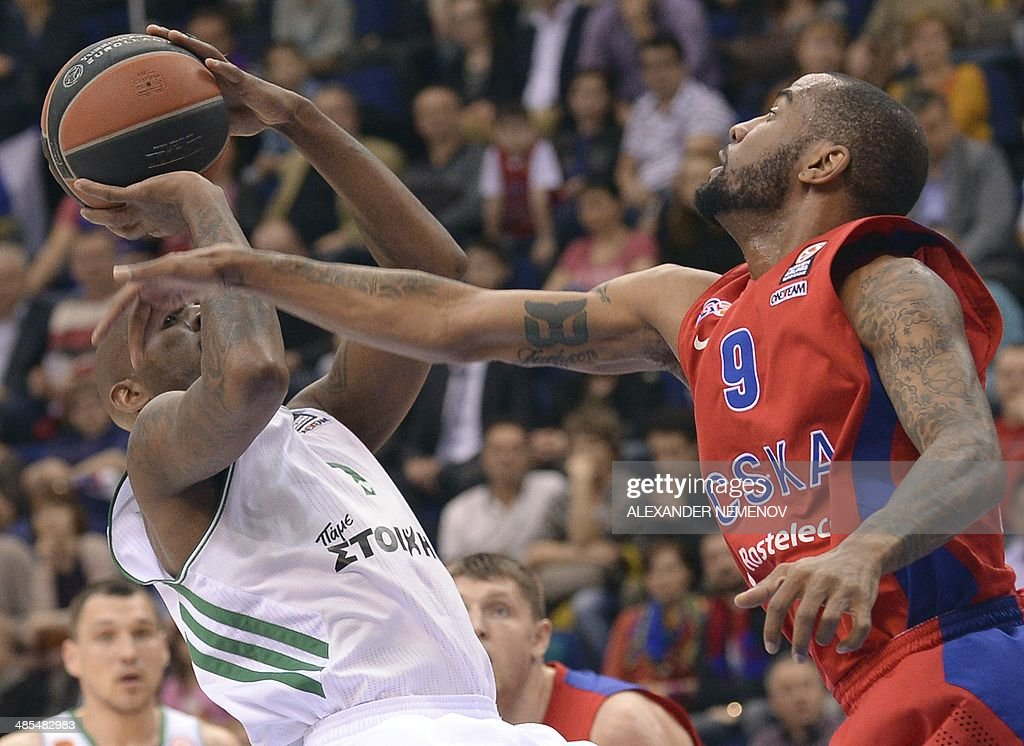 Panathinaikos' Ramel Curry Vies With CSKA Moscow's Aaron