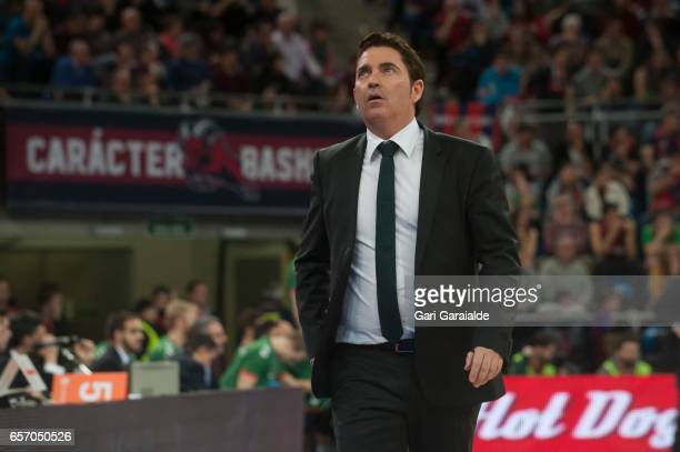 Panathinaiko's Spanish Head coach Xavi Pascual during the Turkish Airlines Euroleague Basketball Regular Season Round 28th game between Baskonia...