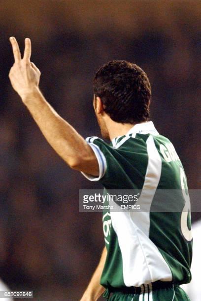 Panathinaikos's Ioannis Goumas gestures towards the refeee