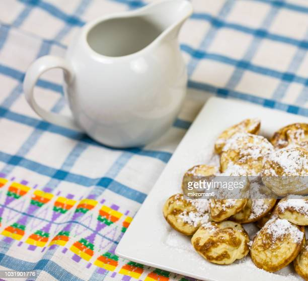 pancake bites, breakfast - icing sugar stock pictures, royalty-free photos & images