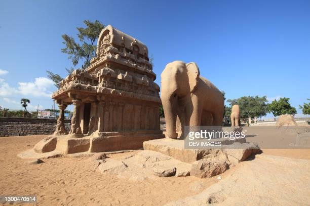 pancha ratha temples at mamallapuram,tamil nadu,india - tamil nadu stock pictures, royalty-free photos & images