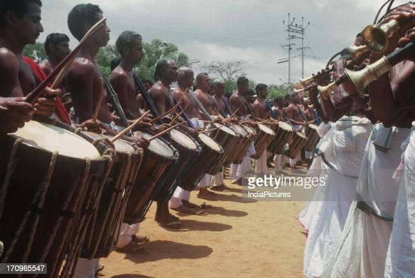Panchavadyam musicians in Pooram festival, Thrissur, Kerala, India